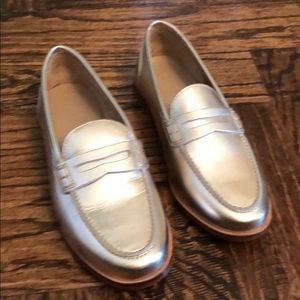 J. Crew gold loafers